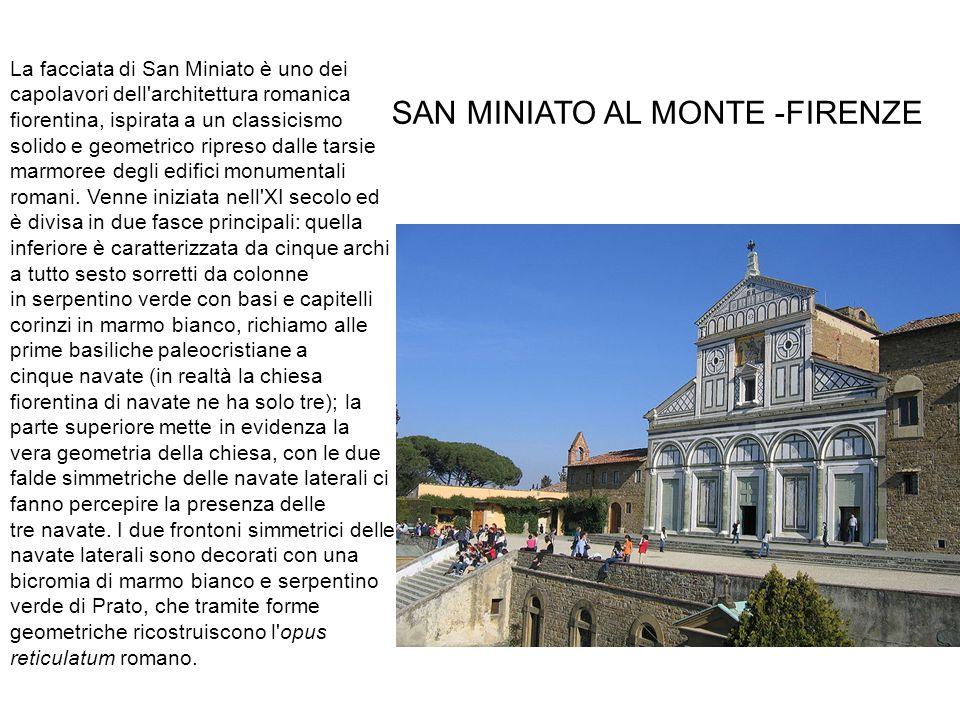 SAN MINIATO AL MONTE_ FIRENZE La facciata di San Miniato è uno dei capolavori dell architettura romanica fiorentina, ispirata a un classicismo solido e geometrico ripreso dalle tarsie marmoree degli edifici monumentali romani.