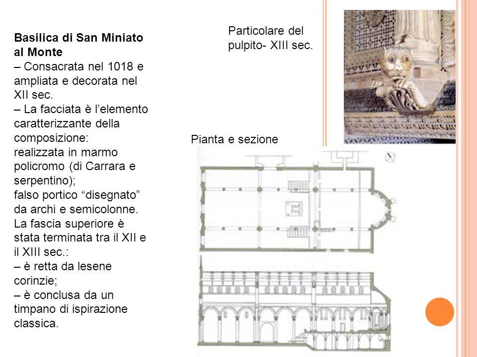 Basilica di San Miniato al Monte – Consacrata nel 1018 e ampliata e decorata nel XII sec. – La facciata è l'elemento caratterizzante della composizion