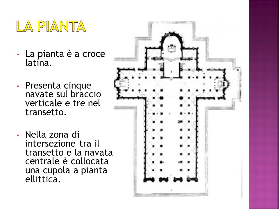 La pianta è a croce latina. Presenta cinque navate sul braccio verticale e tre nel transetto. Nella zona di intersezione tra il transetto e la navata