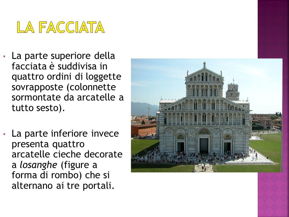 La parte superiore della facciata è suddivisa in quattro ordini di loggette sovrapposte (colonnette sormontate da arcatelle a tutto sesto). La parte i