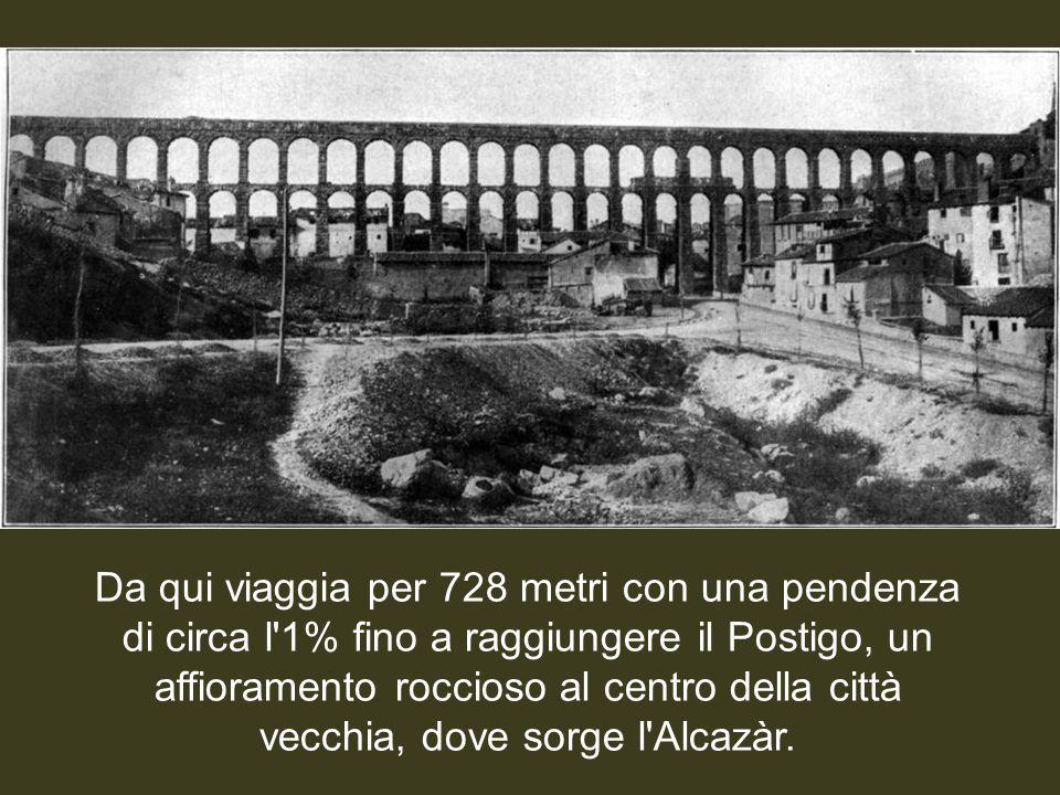L'acquedotto trasporta acqua dalla sorgente della Fuenfría, situata nelle montagne vicine, a 17 chilometri dalla città, in una regione nota come La Ac