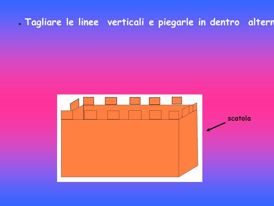 ● Tagliare le linee verticali e piegarle in dentro alternando e così si formano i merli del castello. scatola