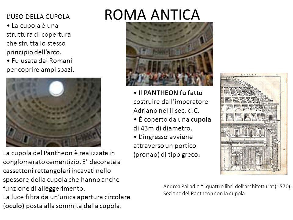 ROMA ANTICA Il PANTHEON fu fatto costruire dall'imperatore Adriano nel II sec. d.C. È coperto da una cupola di 43m di diametro. L'ingresso avviene att