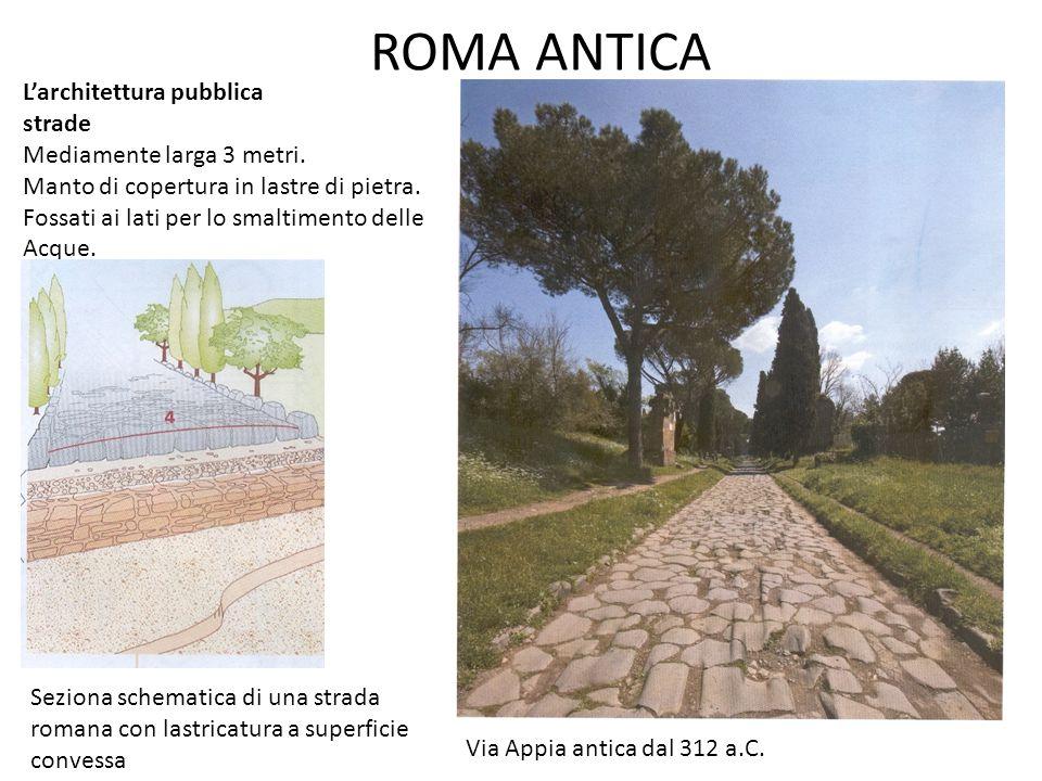 ROMA ANTICA L'architettura pubblica strade Mediamente larga 3 metri. Manto di copertura in lastre di pietra. Fossati ai lati per lo smaltimento delle