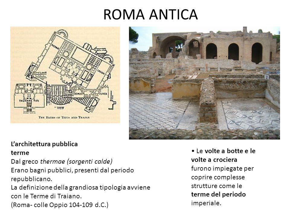 ROMA ANTICA L'architettura pubblica terme Dal greco thermae (sorgenti calde) Erano bagni pubblici, presenti dal periodo repubblicano. La definizione d