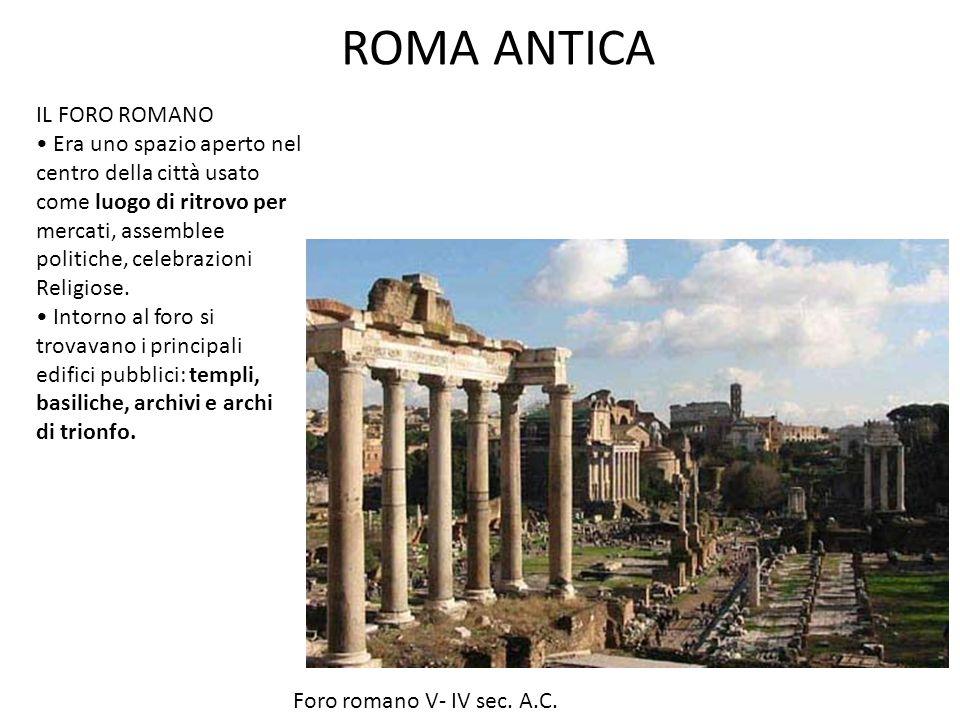 ROMA ANTICA IL FORO ROMANO Era uno spazio aperto nel centro della città usato come luogo di ritrovo per mercati, assemblee politiche, celebrazioni Religiose.