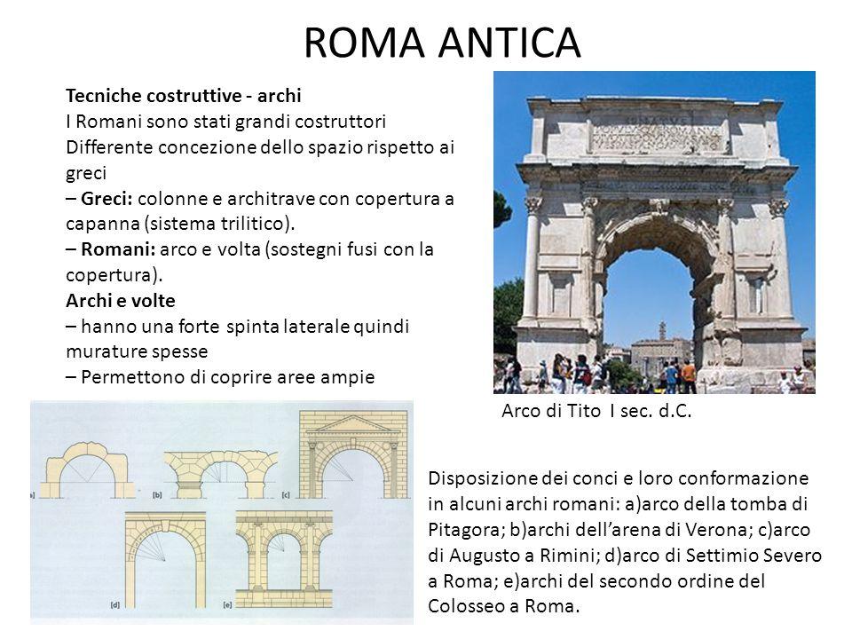 ROMA ANTICA Tecniche costruttive - archi I Romani sono stati grandi costruttori Differente concezione dello spazio rispetto ai greci – Greci: colonne e architrave con copertura a capanna (sistema trilitico).