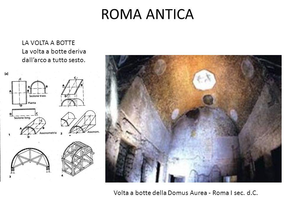 ROMA ANTICA LA VOLTA A BOTTE La volta a botte deriva dall'arco a tutto sesto. Volta a botte della Domus Aurea - Roma I sec. d.C.