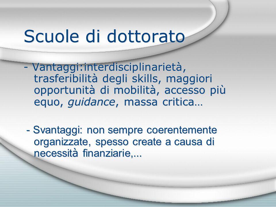 Scuole di dottorato - Vantaggi:interdisciplinarietà, trasferibilità degli skills, maggiori opportunità di mobilità, accesso più equo, guidance, massa