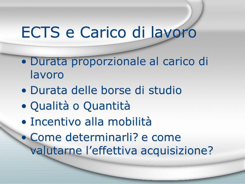 ECTS e Carico di lavoro Durata proporzionale al carico di lavoro Durata delle borse di studio Qualità o Quantità Incentivo alla mobilità Come determinarli.