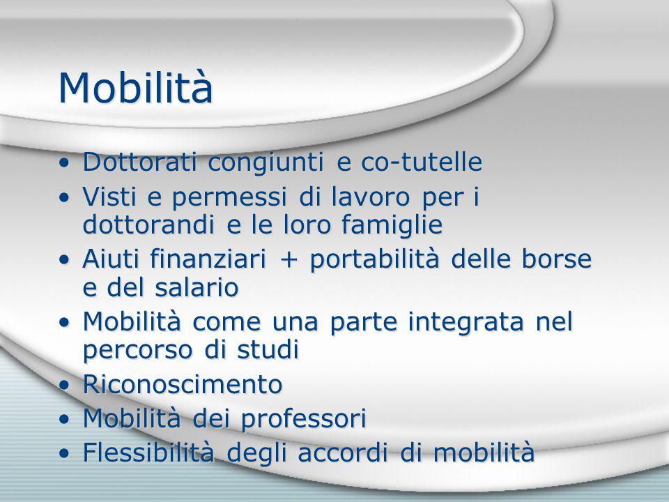 Mobilità Dottorati congiunti e co-tutelle Visti e permessi di lavoro per i dottorandi e le loro famiglie Aiuti finanziari + portabilità delle borse e