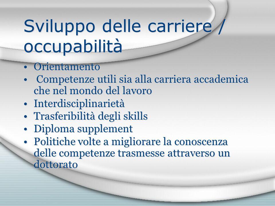 Sviluppo delle carriere / occupabilità Orientamento Competenze utili sia alla carriera accademica che nel mondo del lavoro Interdisciplinarietà Trasfe