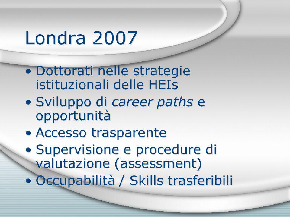 Londra 2007 Dottorati nelle strategie istituzionali delle HEIs Sviluppo di career paths e opportunità Accesso trasparente Supervisione e procedure di