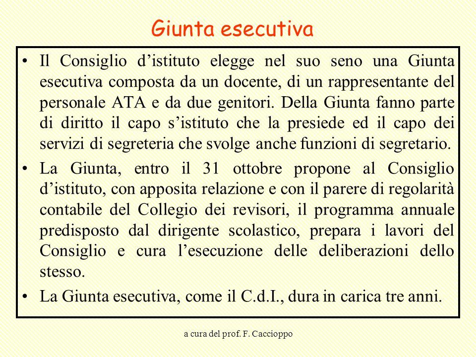 a cura del prof. F. Caccioppo Giunta esecutiva Il Consiglio d'istituto elegge nel suo seno una Giunta esecutiva composta da un docente, di un rapprese
