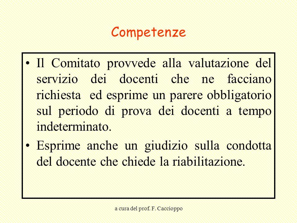 a cura del prof. F. Caccioppo Competenze Il Comitato provvede alla valutazione del servizio dei docenti che ne facciano richiesta ed esprime un parere