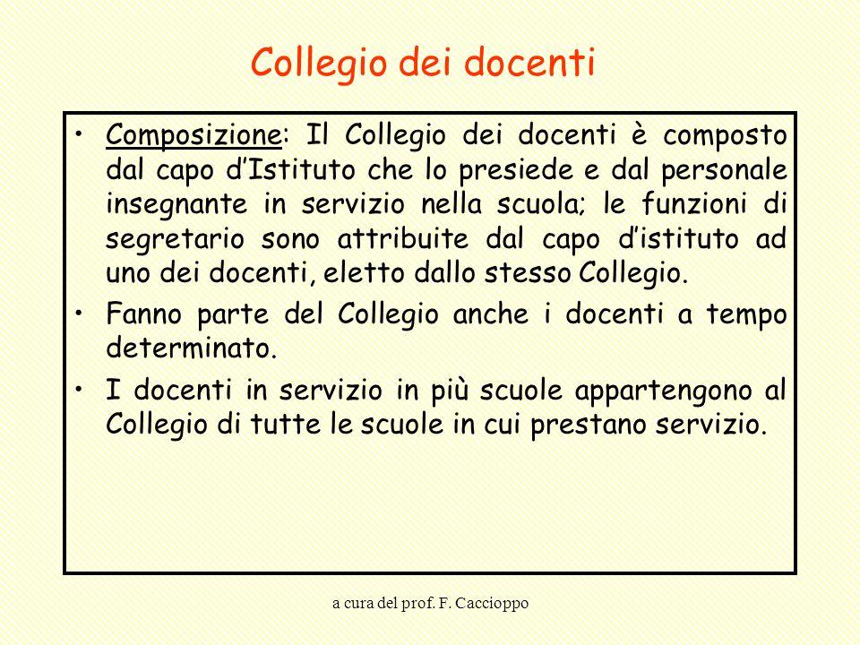 a cura del prof. F. Caccioppo Collegio dei docenti Composizione: Il Collegio dei docenti è composto dal capo d'Istituto che lo presiede e dal personal