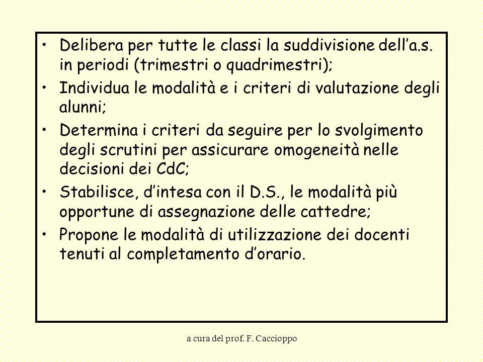 a cura del prof. F. Caccioppo Delibera per tutte le classi la suddivisione dell'a.s. in periodi (trimestri o quadrimestri); Individua le modalità e i