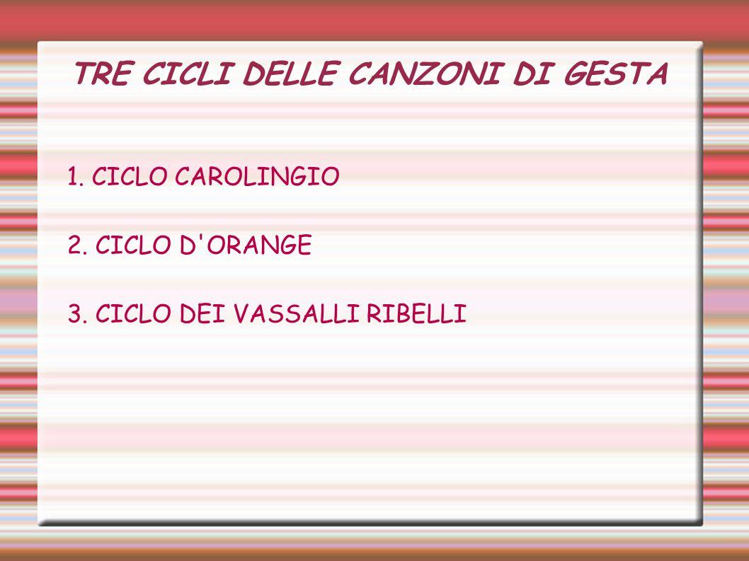 TRE CICLI DELLE CANZONI DI GESTA 1.CICLO CAROLINGIO 2.