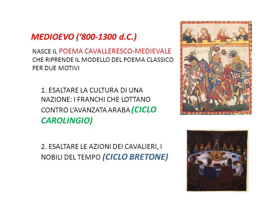 MEDIOEVO ('800-1300 d.C.) NASCE IL POEMA CAVALLERESCO-MEDIEVALE CHE RIPRENDE IL MODELLO DEL POEMA CLASSICO PER DUE MOTIVI 1. ESALTARE LA CULTURA DI UN