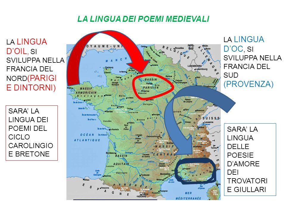 LA LINGUA DEI POEMI MEDIEVALI LA LINGUA D'OC, SI SVILUPPA NELLA FRANCIA DEL SUD (PROVENZA) LA LINGUA D'OIL, SI SVILUPPA NELLA FRANCIA DEL NORD (PARIGI
