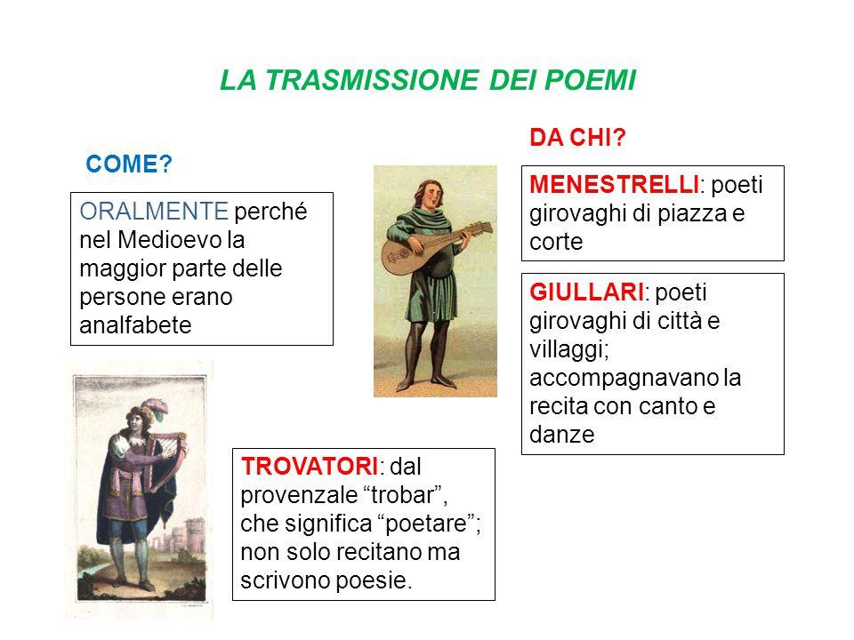 LA TRASMISSIONE DEI POEMI COME? ORALMENTE perché nel Medioevo la maggior parte delle persone erano analfabete DA CHI? MENESTRELLI: poeti girovaghi di