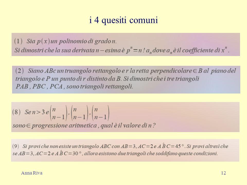 Anna Riva12 i 4 quesiti comuni