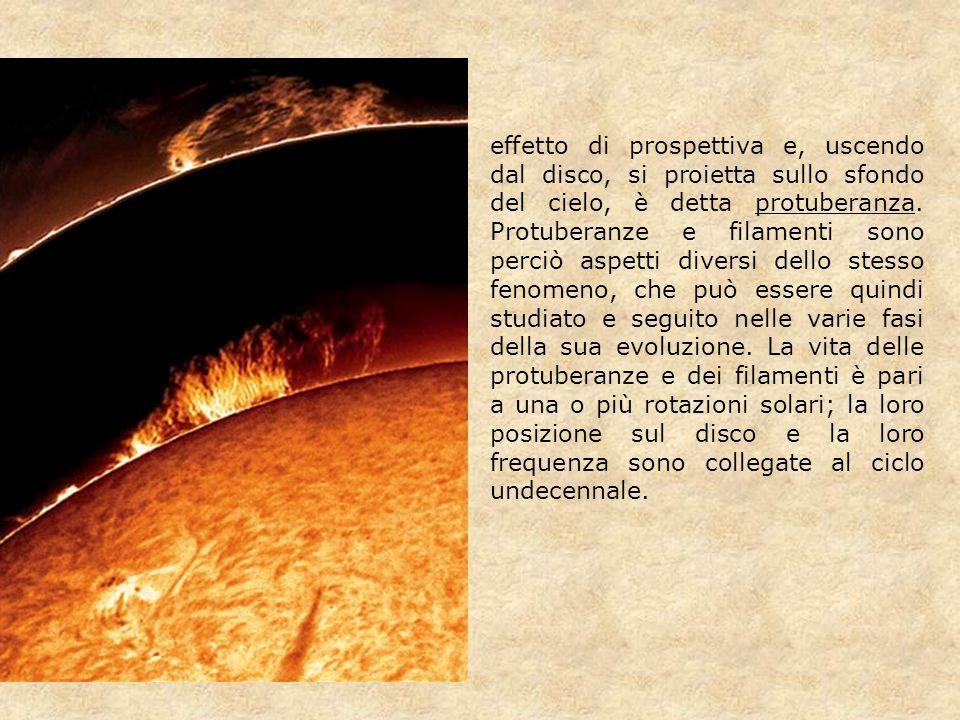 effetto di prospettiva e, uscendo dal disco, si proietta sullo sfondo del cielo, è detta protuberanza. Protuberanze e filamenti sono perciò aspetti di