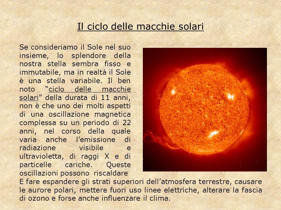 Il ciclo delle macchie solari Se consideriamo il Sole nel suo insieme, lo splendore della nostra stella sembra fisso e immutabile, ma in realtà il Sol