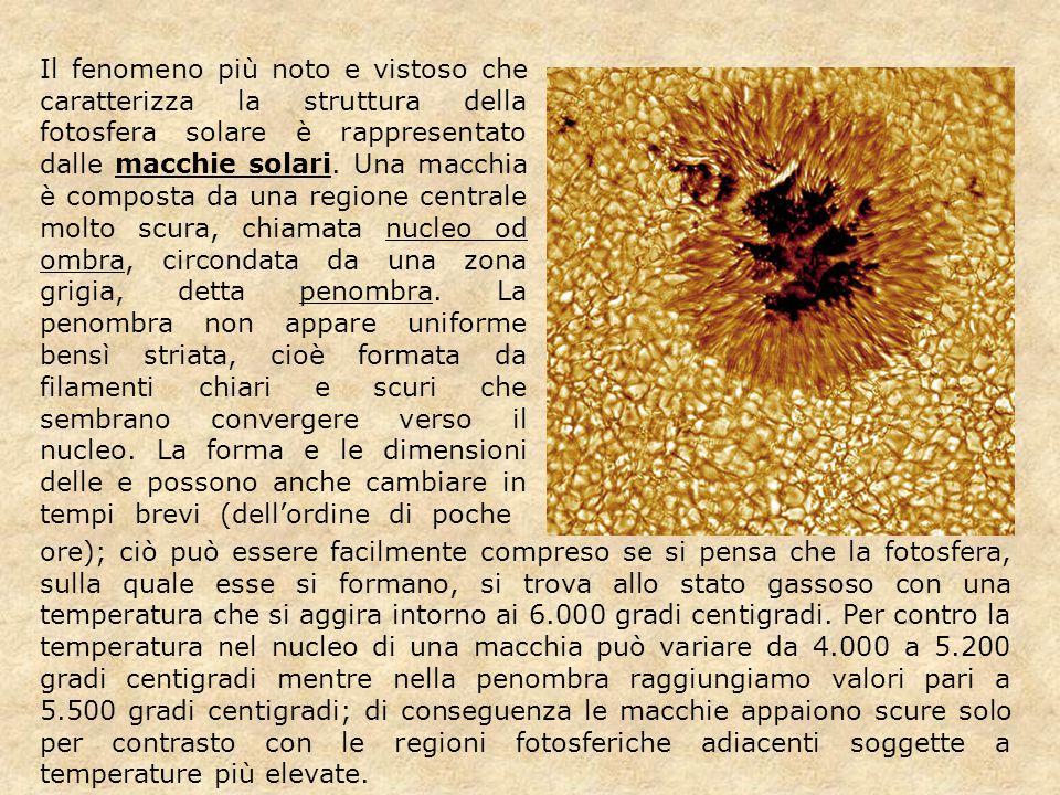 Il fenomeno più noto e vistoso che caratterizza la struttura della fotosfera solare è rappresentato dalle macchie solari. Una macchia è composta da un