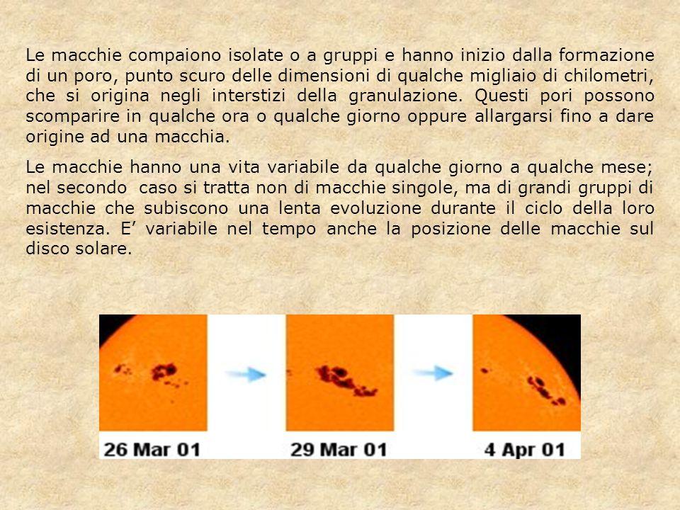 Le macchie compaiono isolate o a gruppi e hanno inizio dalla formazione di un poro, punto scuro delle dimensioni di qualche migliaio di chilometri, ch