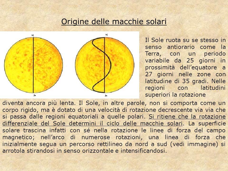 Origine delle macchie solari Il Sole ruota su se stesso in senso antiorario come la Terra, con un periodo variabile da 25 giorni in prossimità dell'eq