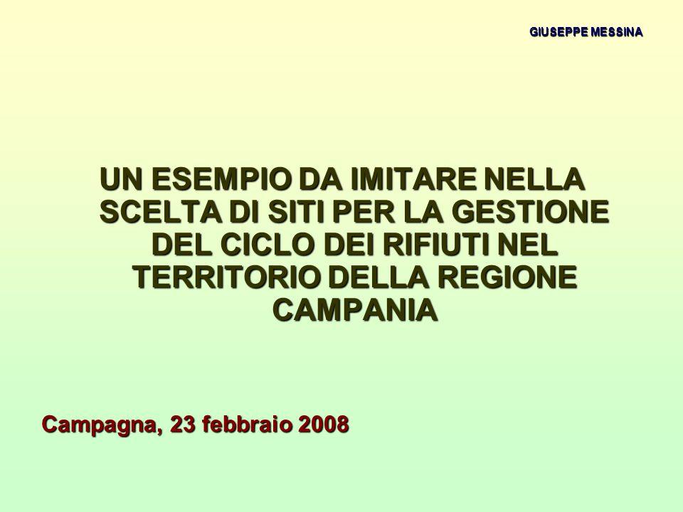 GIUSEPPE MESSINA UN ESEMPIO DA IMITARE NELLA SCELTA DI SITI PER LA GESTIONE DEL CICLO DEI RIFIUTI NEL TERRITORIO DELLA REGIONE CAMPANIA Campagna, 23 febbraio 2008