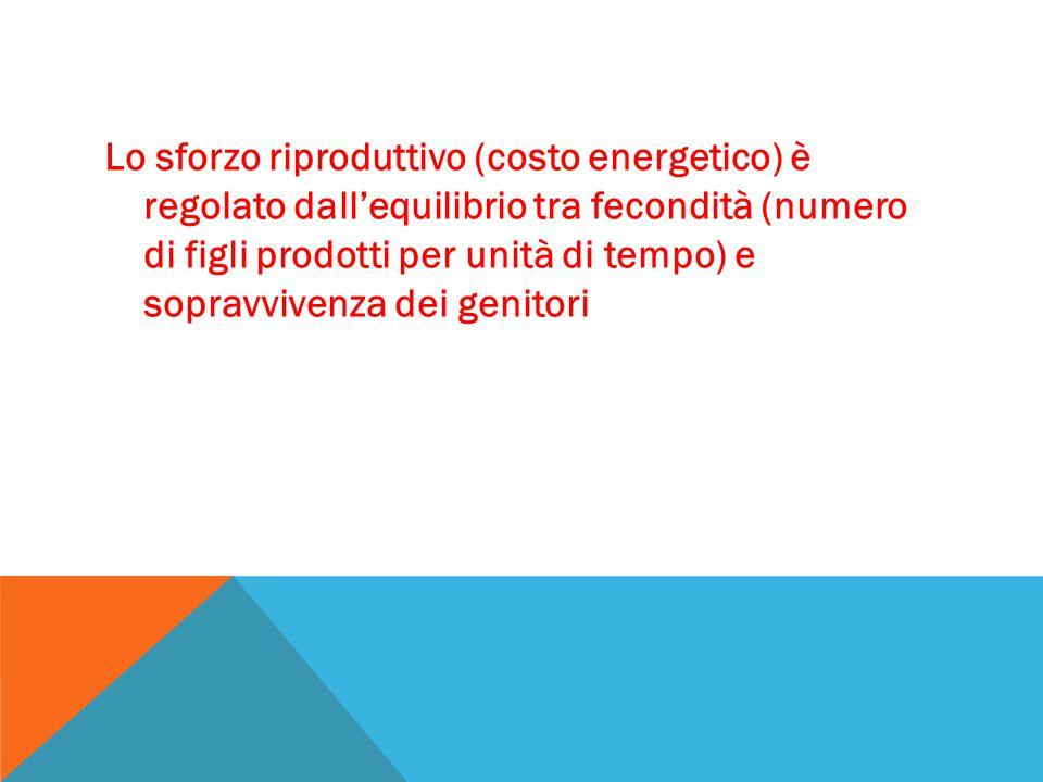 Lo sforzo riproduttivo (costo energetico) è regolato dall'equilibrio tra fecondità (numero di figli prodotti per unità di tempo) e sopravvivenza dei g