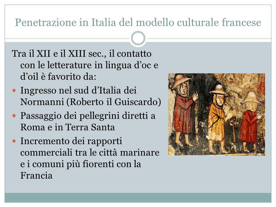 Penetrazione in Italia del modello culturale francese Tra il XII e il XIII sec., il contatto con le letterature in lingua d'oc e d'oil è favorito da: