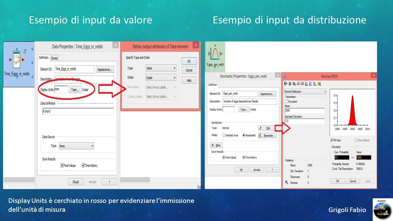 Esempio di input da distribuzioneEsempio di input da valore Grigoli Fabio Display Units è cerchiato in rosso per evidenziare l'immissione dell'unità di misura