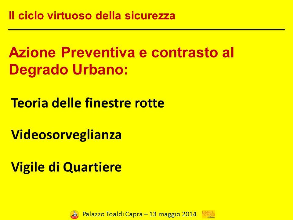 Palazzo Toaldi Capra – 13 maggio 2014 Il ciclo virtuoso della sicurezza Azione Preventiva e contrasto al Degrado Urbano: Teoria delle finestre rotte Videosorveglianza Vigile di Quartiere
