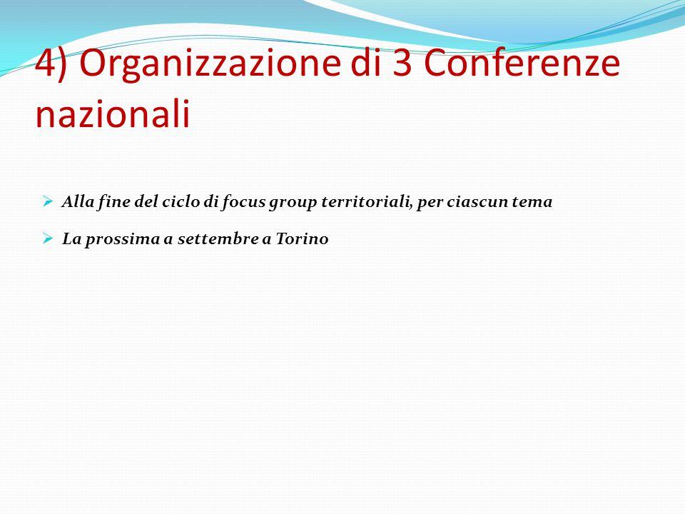 4) Organizzazione di 3 Conferenze nazionali  Alla fine del ciclo di focus group territoriali, per ciascun tema  La prossima a settembre a Torino