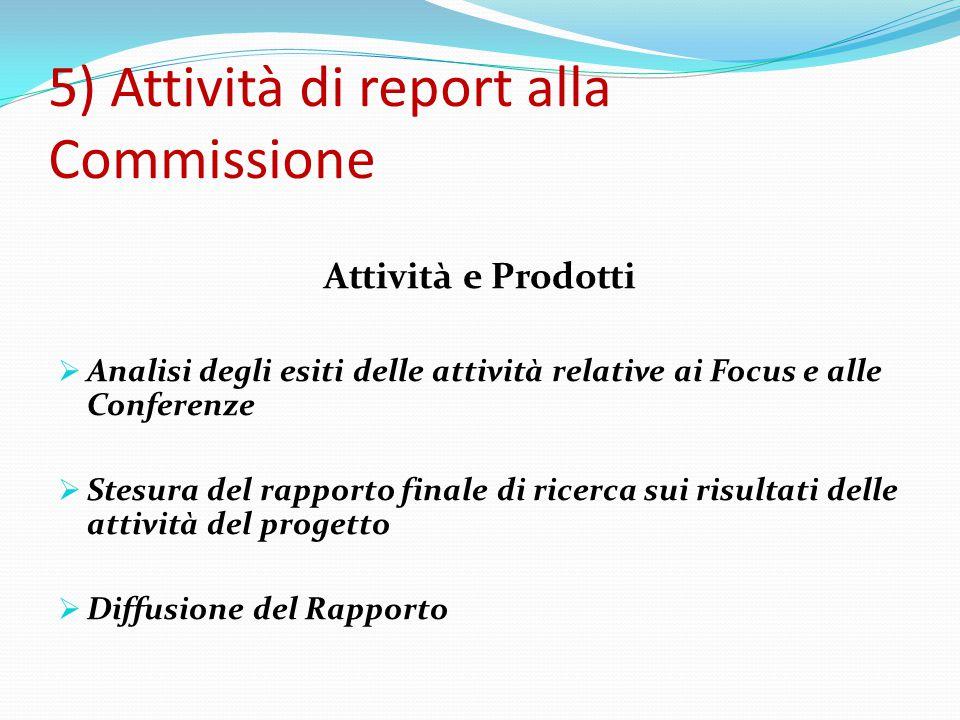 5) Attività di report alla Commissione Attività e Prodotti  Analisi degli esiti delle attività relative ai Focus e alle Conferenze  Stesura del rapporto finale di ricerca sui risultati delle attività del progetto  Diffusione del Rapporto