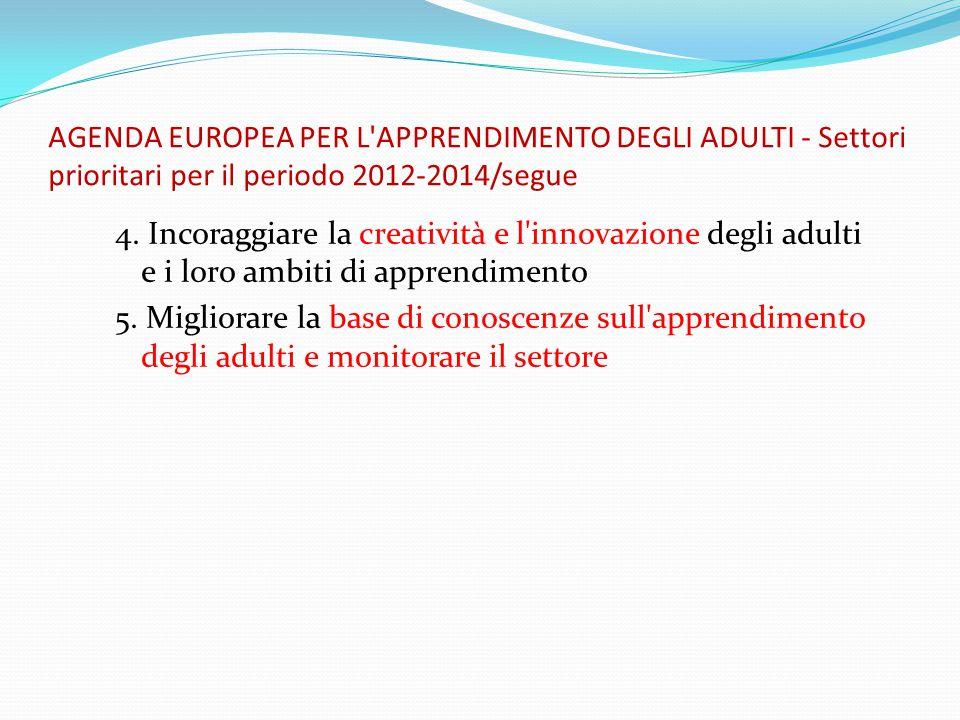 AGENDA EUROPEA PER L APPRENDIMENTO DEGLI ADULTI - Settori prioritari per il periodo 2012-2014/segue 4.
