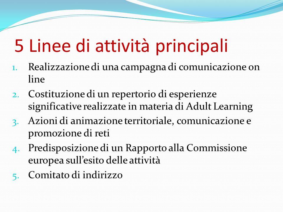 5 Linee di attività principali 1. Realizzazione di una campagna di comunicazione on line 2.