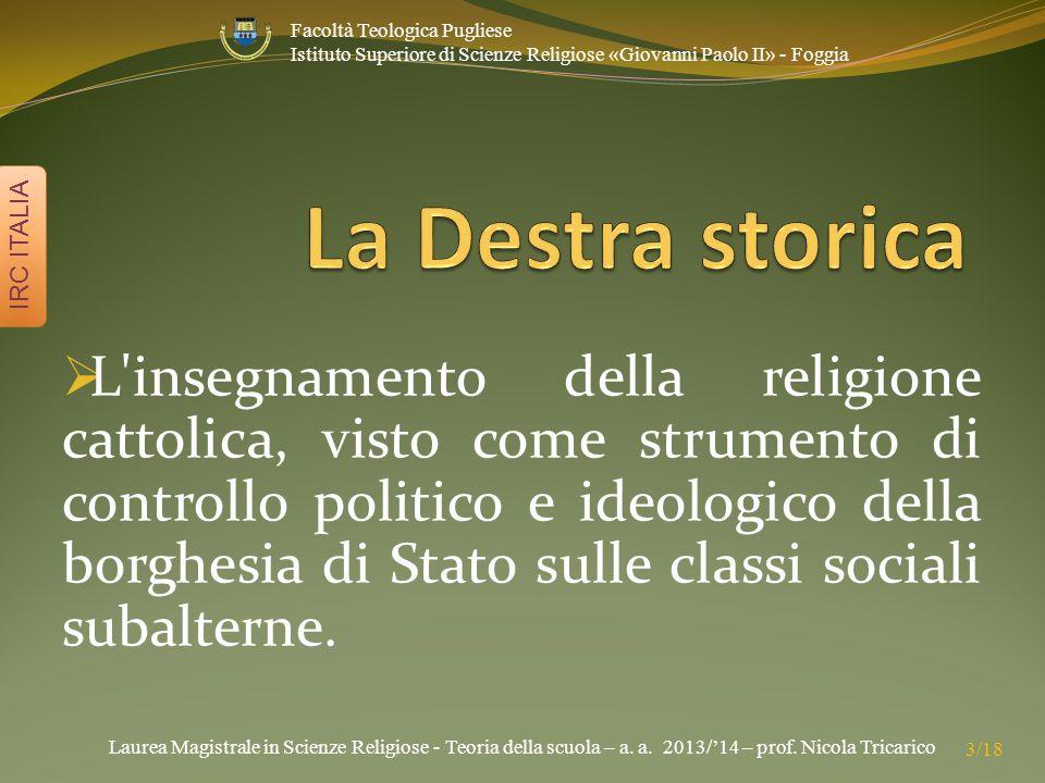 Laurea Magistrale in Scienze Religiose - Teoria della scuola – a. a. 2013/'14 – prof. Nicola Tricarico IRC ITALIA 3/18 Facoltà Teologica Pugliese Isti