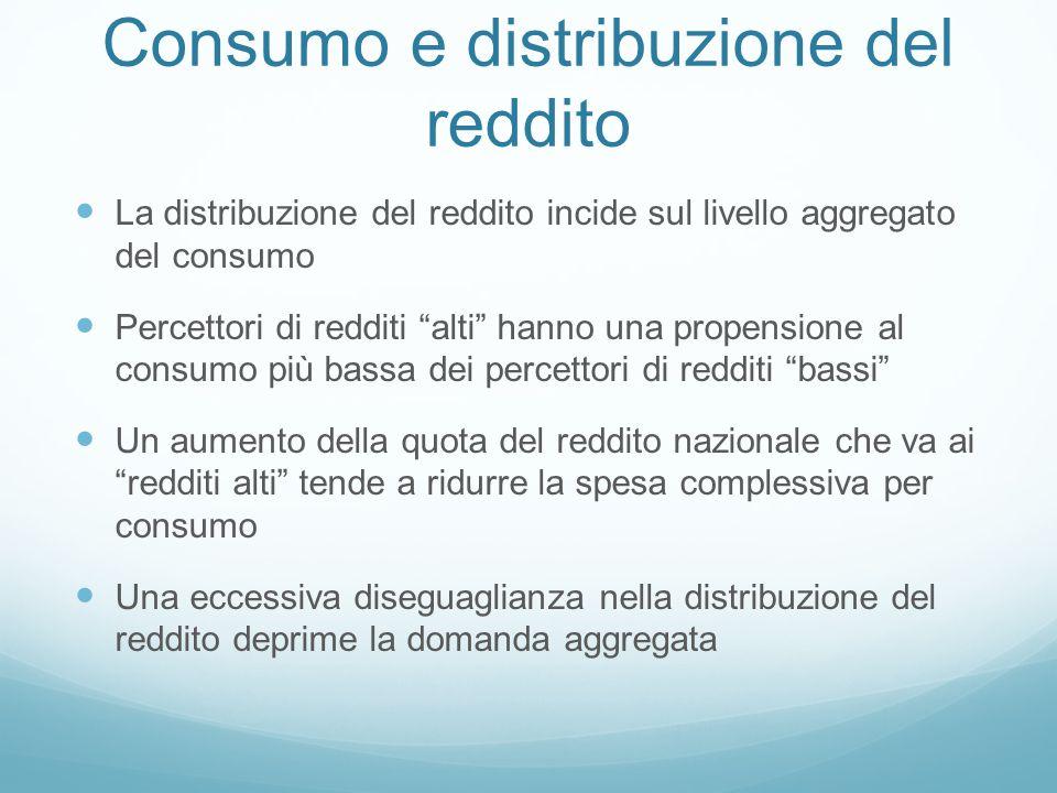 """Consumo e distribuzione del reddito La distribuzione del reddito incide sul livello aggregato del consumo Percettori di redditi """"alti"""" hanno una prope"""