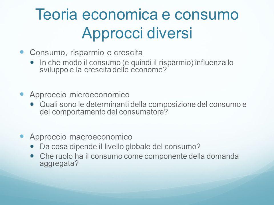 Teoria economica e consumo Approcci diversi Consumo, risparmio e crescita In che modo il consumo (e quindi il risparmio) influenza lo sviluppo e la cr