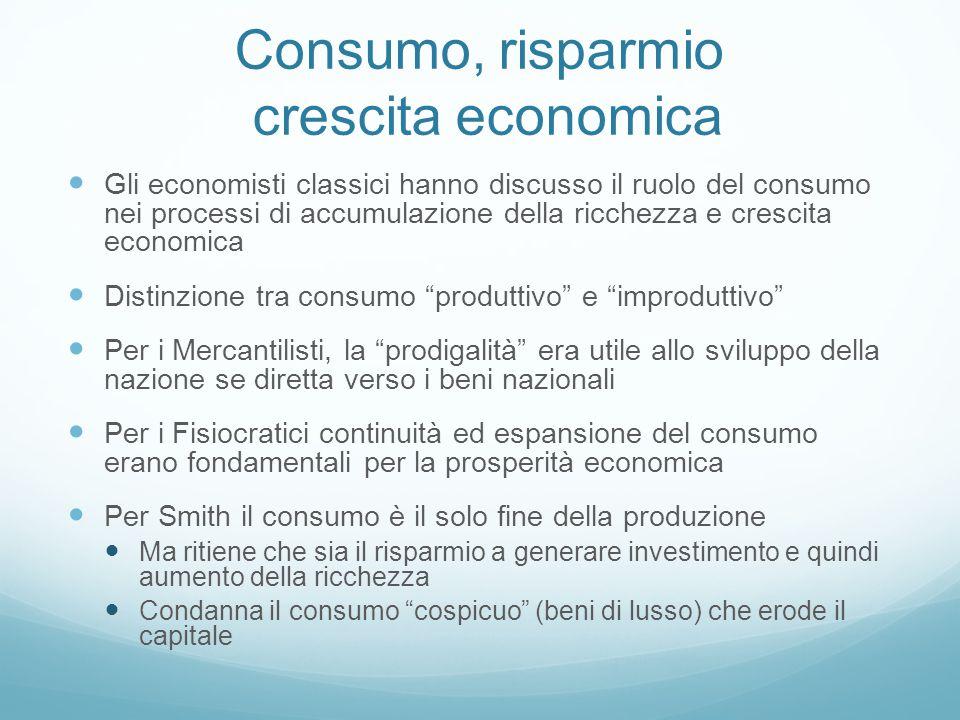 Consumo, risparmio crescita economica Gli economisti classici hanno discusso il ruolo del consumo nei processi di accumulazione della ricchezza e cres