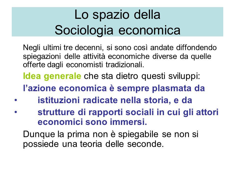 Lo spazio della Sociologia economica Negli ultimi tre decenni, si sono così andate diffondendo spiegazioni delle attività economiche diverse da quelle offerte dagli economisti tradizionali.