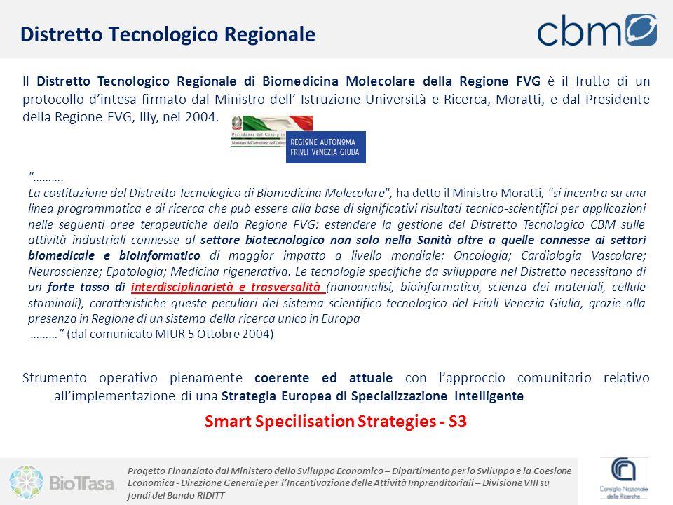 Progetto Finanziato dal Ministero dello Sviluppo Economico – Dipartimento per lo Sviluppo e la Coesione Economica - Direzione Generale per l'Incentivazione delle Attività Imprenditoriali – Divisione VIII su fondi del Bando RIDITT Il Distretto Tecnologico Regionale di Biomedicina Molecolare della Regione FVG è il frutto di un protocollo d'intesa firmato dal Ministro dell' Istruzione Università e Ricerca, Moratti, e dal Presidente della Regione FVG, Illy, nel 2004.