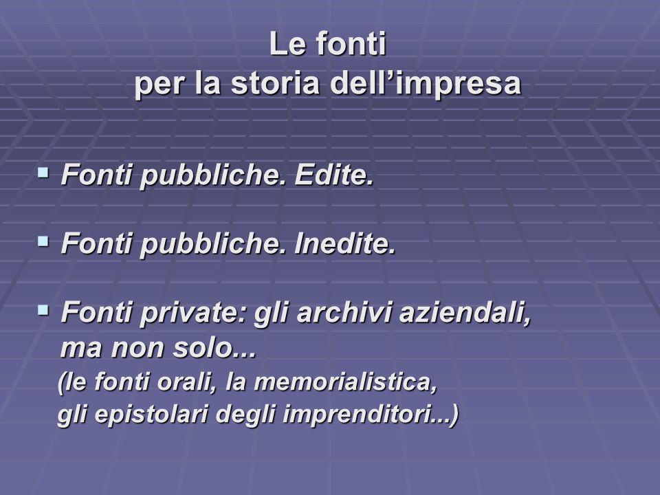 Le fonti per la storia dell'impresa  Fonti pubbliche.