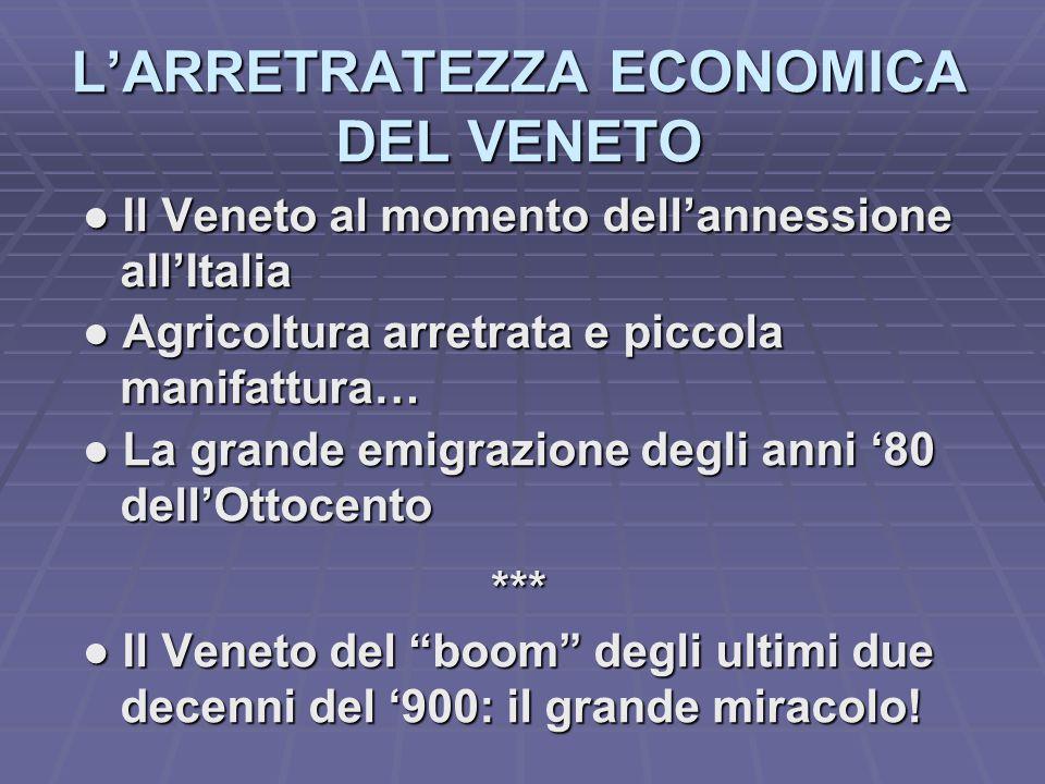 L'ARRETRATEZZA ECONOMICA DEL VENETO ● Il Veneto al momento dell'annessione ● Il Veneto al momento dell'annessione all'Italia all'Italia ● Agricoltura