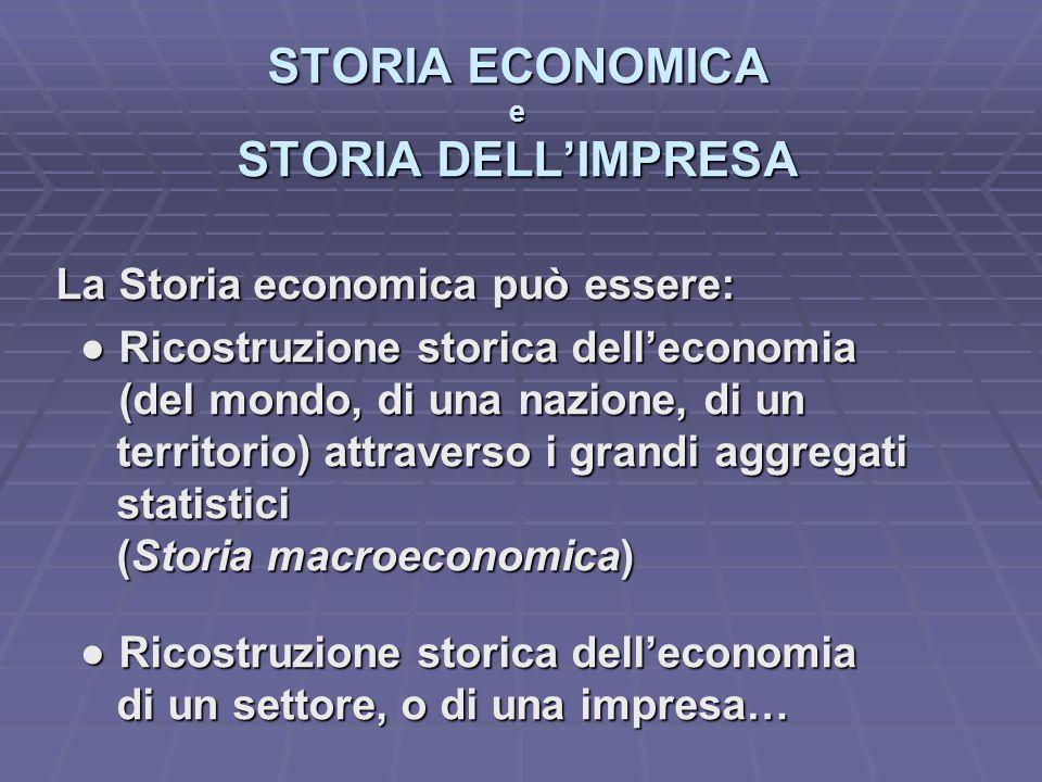 STORIA ECONOMICA e STORIA DELL'IMPRESA La Storia economica può essere: ● Ricostruzione storica dell'economia ● Ricostruzione storica dell'economia (de