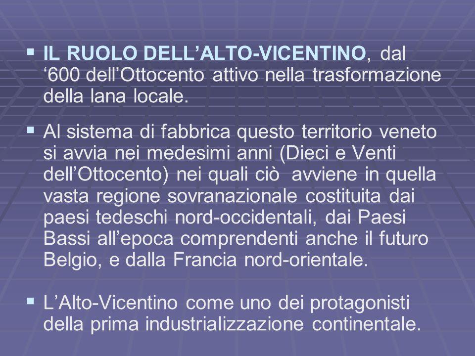   IL RUOLO DELL'ALTO-VICENTINO, dal '600 dell'Ottocento attivo nella trasformazione della lana locale.   Al sistema di fabbrica questo territorio
